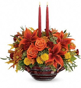 Teleflora's Rich And Wondrous Centerpiece in Bakersfield CA, White Oaks Florist