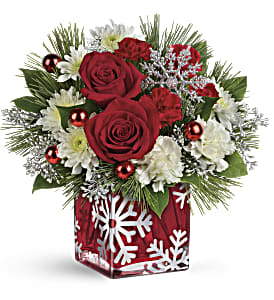 Teleflora's Silver Christmas Bouquet in Visalia CA, Flowers by Peter Perkens Flowers Inc.