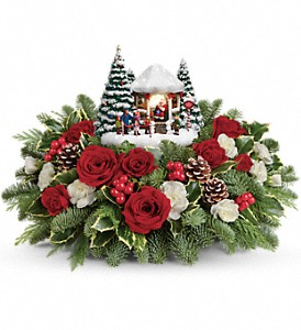 Thomas Kinkade's Jolly Santa Bouquet in Charleston WV, Food Among The Flowers