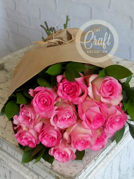 Wrapped Roses in Pink in Raleigh NC, Fallon's Flowers