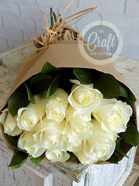 Wrapped Roses in White in Raleigh NC, Fallon's Flowers