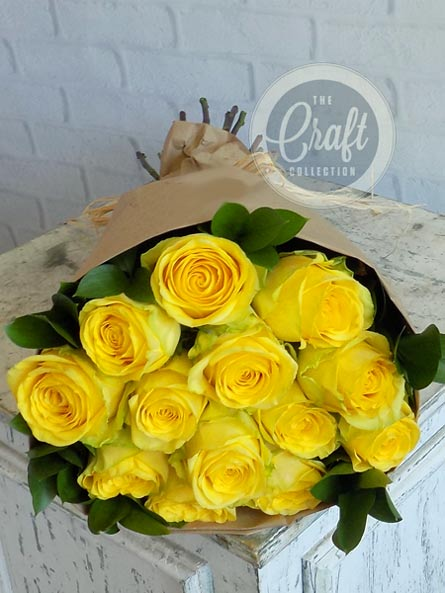 Wrapped Roses in Yellow in Raleigh NC, Fallon's Flowers