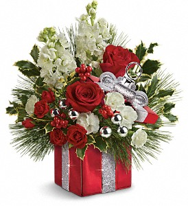 Teleflora's Wrapped In Joy Bouquet in South Haven MI, The Rose Shop