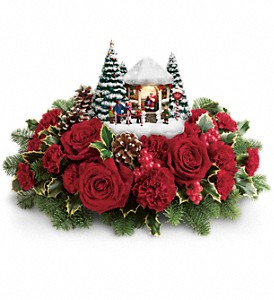 Thomas Kinkade's Visiting Santa Bouquet in Visalia CA, Flowers by Peter Perkens Flowers Inc.