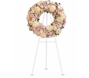 Pastel Garden Wreath in Bellevue WA, CITY FLOWERS, INC.