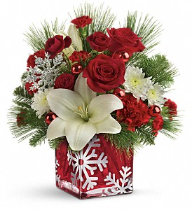 Teleflora's Snowflake Wonder Bouquet in Columbus IN, Fisher's Flower Basket