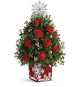 Teleflora's Sparkling Snowflake Tree in Visalia CA, Flowers by Peter Perkens Flowers Inc.