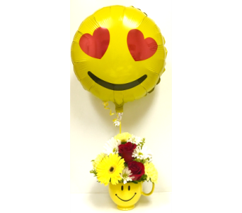 Smiles & Red Roses with Emoji Balloon - All-Around in Wyoming MI, Wyoming Stuyvesant Floral