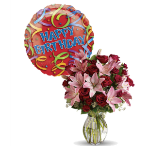Lavish Love Bouquet with Happy Birthday Mylar by 1-800-balloons