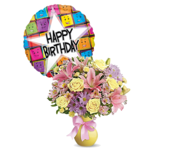 Simply Sweet with Happy Birthday Mylar by 1-800-balloons