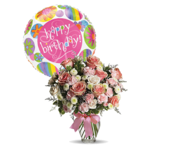 Cotton Candy with Happy Birthday Mylar by 1-800-balloons