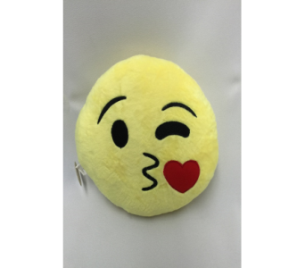 Emoji Pillow (Kissing Face) in Dearborn MI, Fisher's Flower Shop