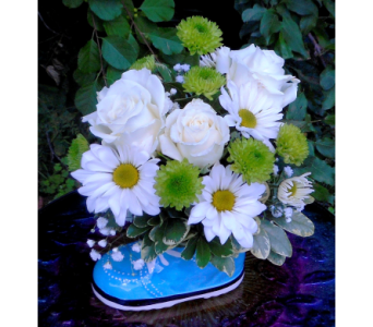 Baby Boy Sneaker with Roses in Skowhegan ME, Boynton's Greenhouses, Inc.