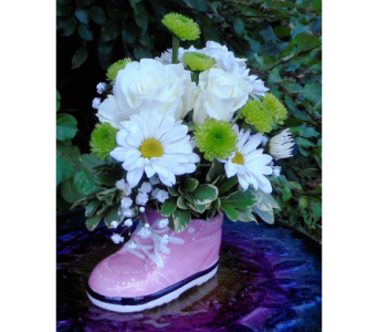 Baby Girl Sneaker with roses in Skowhegan ME, Boynton's Greenhouses, Inc.