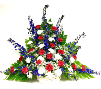 Red, White & Blue Funeral Collection Arrangement in Wyoming MI, Wyoming Stuyvesant Floral