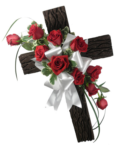 Old Rustic Cross on a Stand in Arlington Heights IL, Sylvia's - Amlings Flowers