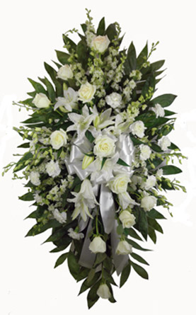 White Deluxe Standing Spray in Arlington Heights IL, Sylvia's - Amlings Flowers