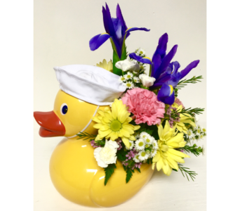 Ceramic Duck Keepsake - 3 hat colors available in Wyoming MI, Wyoming Stuyvesant Floral