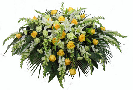 Deluxe Yellow Casket Spray in Fredericksburg VA, Heaven Scent Florist