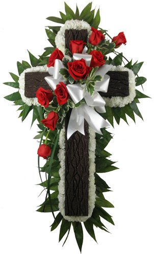 Rustic Cross with Carnations and Roses in Fredericksburg VA, Heaven Scent Florist
