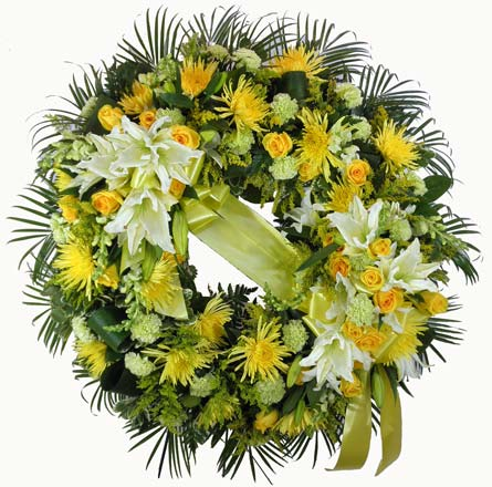 Sunshine Sentiments Wreath in Fredericksburg VA, Heaven Scent Florist