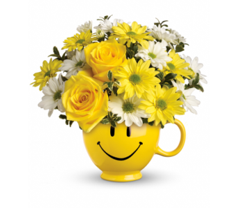 Be Happy Bouquet with Roses in Dallas TX, Petals & Stems Florist