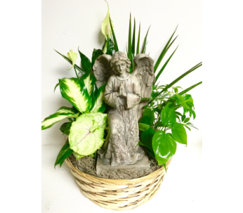 12 inch Basket Planter with Kneeling Angel in Wyoming MI, Wyoming Stuyvesant Floral