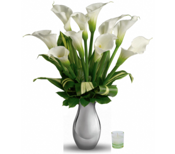 Silver Inspiration Calla Vase in Santa Monica CA, Edelweiss Flower Boutique
