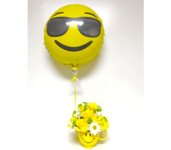 Be Happy with Sunglasses Emoji Balloon- All-Around in Wyoming MI, Wyoming Stuyvesant Floral