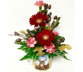 Fall Deer Mug with Fresh Cut Flowers - One-Sided in Wyoming MI, Wyoming Stuyvesant Floral