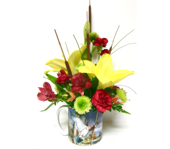 Duck Mug with Fresh Cut Flowers - One-Sided in Wyoming MI, Wyoming Stuyvesant Floral