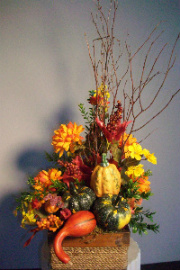 Fall Silk Arrangment With Gourds in Huntington WV, Archer's Flowers, Inc.