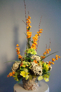 Green and Orange Silk in Huntington WV, Archer's Flowers, Inc.
