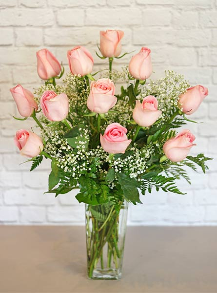 One Dozen Deluxe Pink Roses in Raleigh NC, Fallon's Flowers
