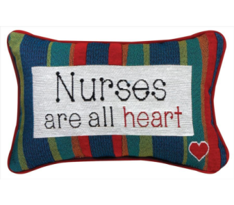 Nurses Are All Heart Word Pillow in Niles OH, Connelly's Flowers