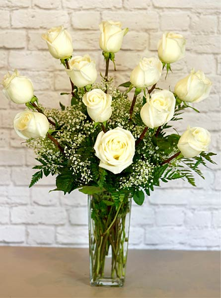 One Dozen Deluxe White Roses in Manchester NH, Chalifour's Flowers