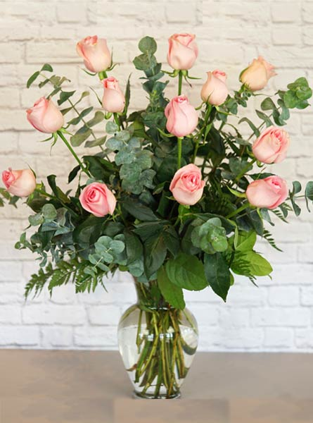One Dozen Premium Pink Roses in Raleigh NC, Fallon's Flowers