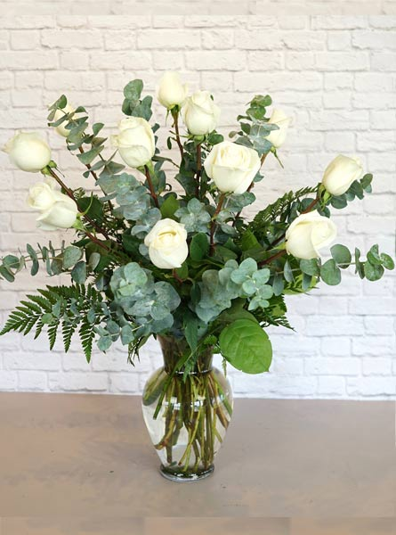 One Dozen Premium White Roses in Raleigh NC, Fallons Creative Flowers