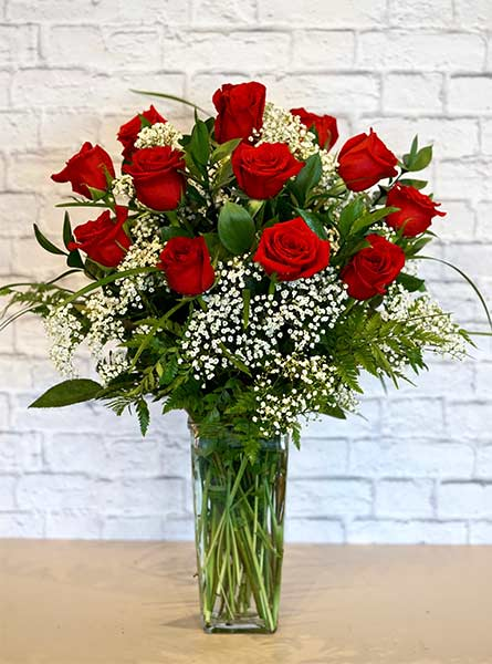One Dozen Deluxe Red Roses in Manchester NH, Chalifour's Flowers