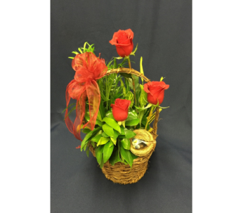 Dish Garden with Red Roses  in Dearborn MI, Fisher's Flower Shop