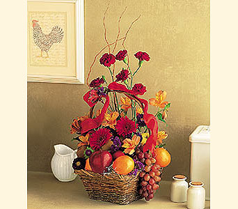 Fall Fruits and Flowers Basket in Cohasset MA, ExoticFlowers.biz