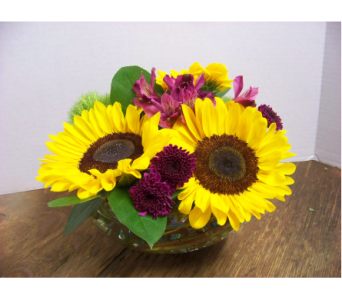 SUNFLOWER BOWL in Claremont NH, Colonial Florist