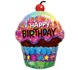 Happy Birthday Cupcake Balloon in Perrysburg & Toledo OH - Ann Arbor MI OH, Ken's Flower Shops