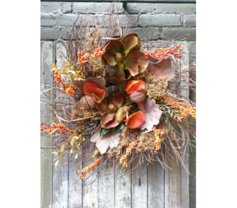 Colorful Floral Autumn Wreath in Ambridge PA, Heritage Floral Shoppe