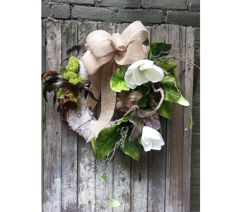 Hand Crafted Natural Emerald and Birch Silk Wreath in Ambridge PA, Heritage Floral Shoppe