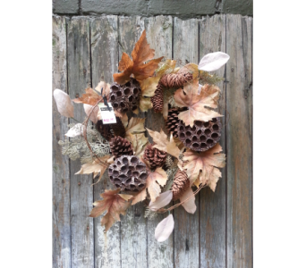 Natural Fall Lotus Pod and Pinecone Wreath in Ambridge PA, Heritage Floral Shoppe