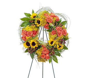 Heaven's Sunset Wreath in Stamford CT, Stamford Florist