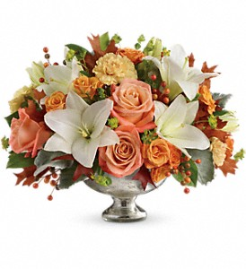 Teleflora's Harvest Shimmer Centerpiece in East Quogue NY, Roses And Rice