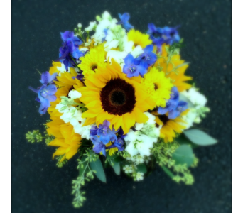 Sunflower & Blue Bridal Bouquet in Schofield WI, Krueger Floral and Gifts