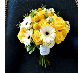Yellow & White Bridal Bouquet2 in Schofield WI, Krueger Floral and Gifts